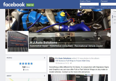 Link to H J Autos Facebook page